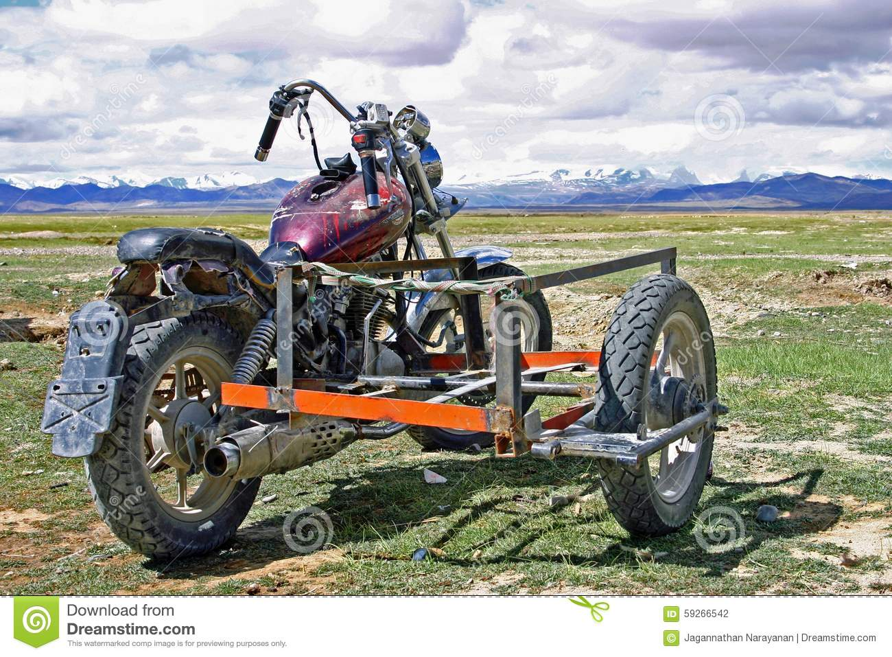 Motorcycle With Sidecar Used By Tibetan Nomad Stock Photo