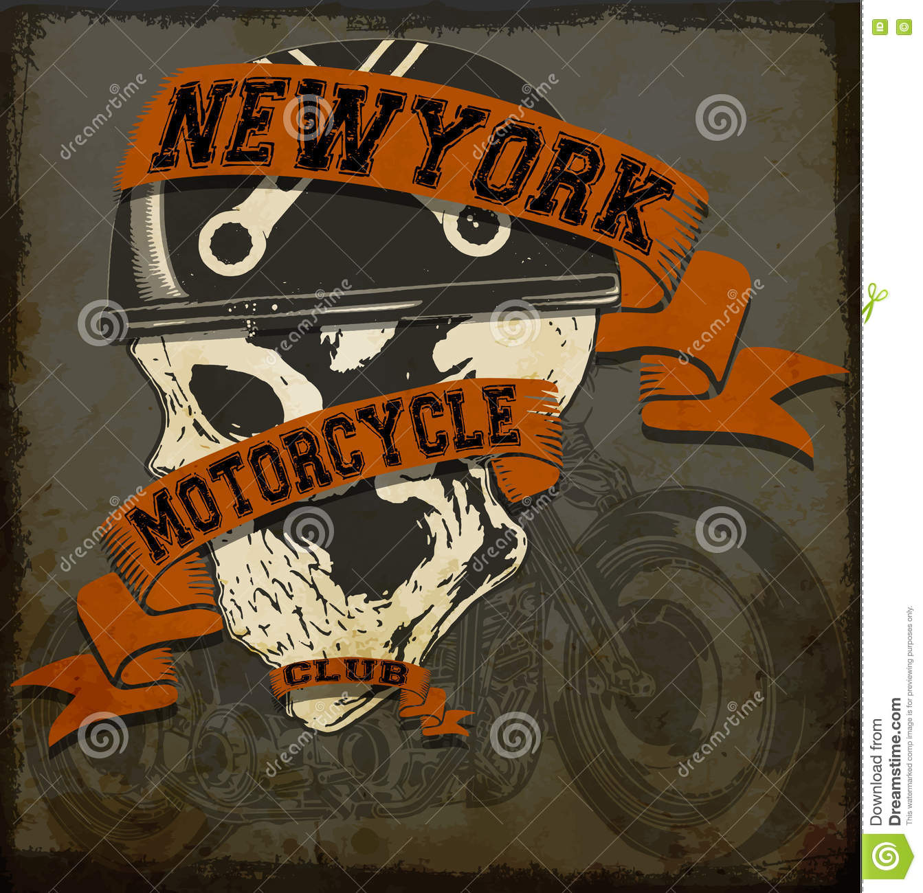 Motorcycle Skull Tee Graphic Design Stock Vector Image 72221423