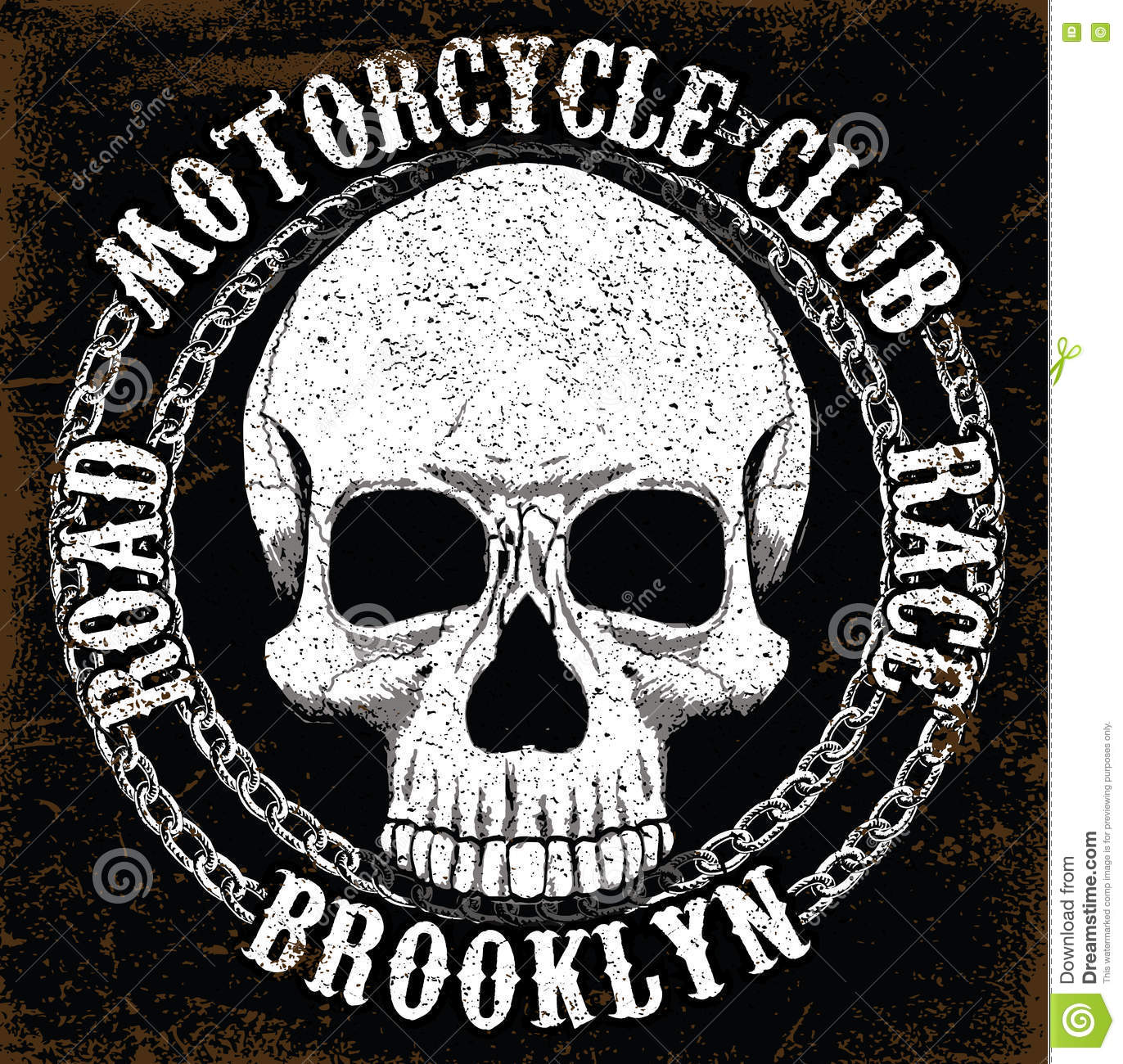 Motorcycle Skull Tee Graphic Design Stock Vector Image 76280938