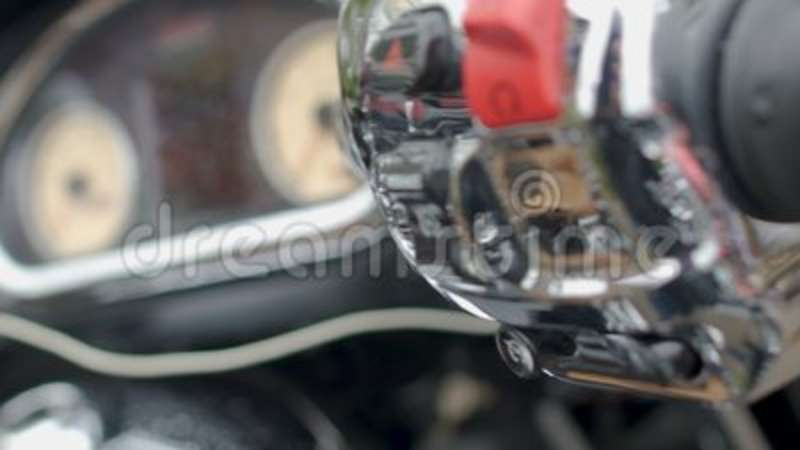 Trade Motorcycle For Car >> Motorcycle Speedometer And Control Panel With Raindrops Trade Show Closeup