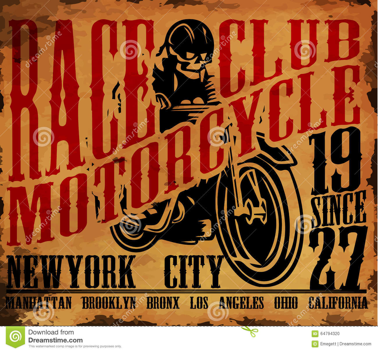 Motorcycle T Shirt Graphic Design Stock Vector Image 64794320