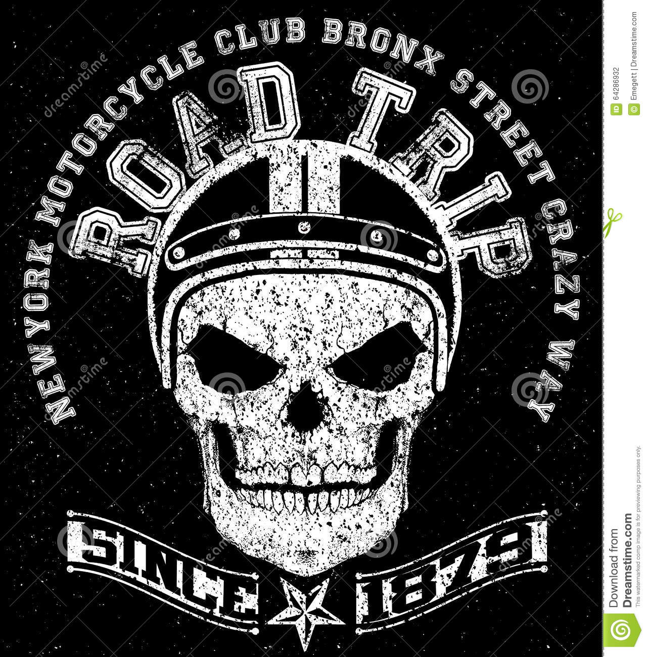 Motorcycle T Shirt Graphic Design With Skull Stock Vector