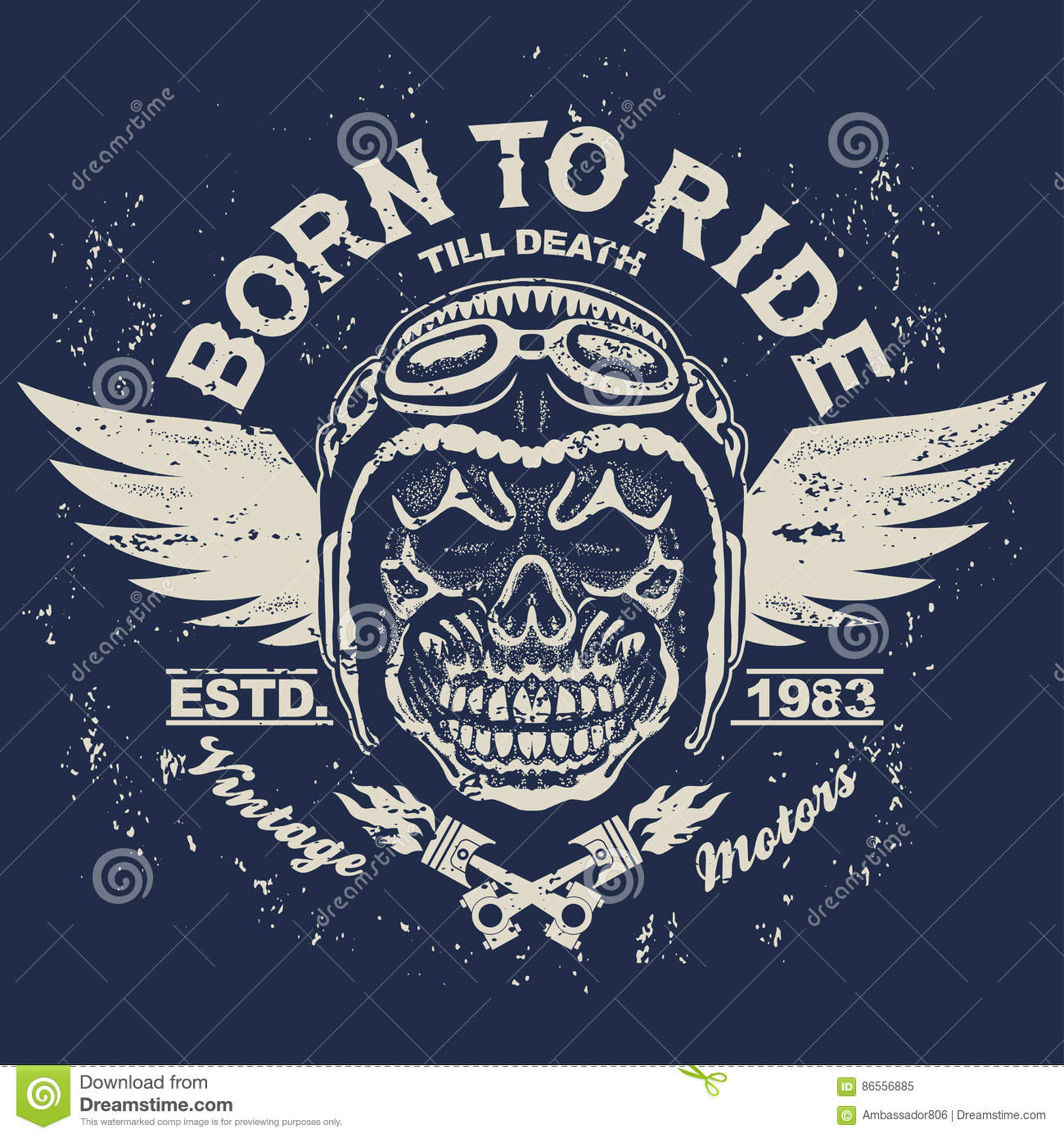 c4b4cf6fee9 Motorcycle t-shirt graphics. Skull rider in helmet with wings. Born to ride  Racer emblem. Biker vintage apparel print. Vector