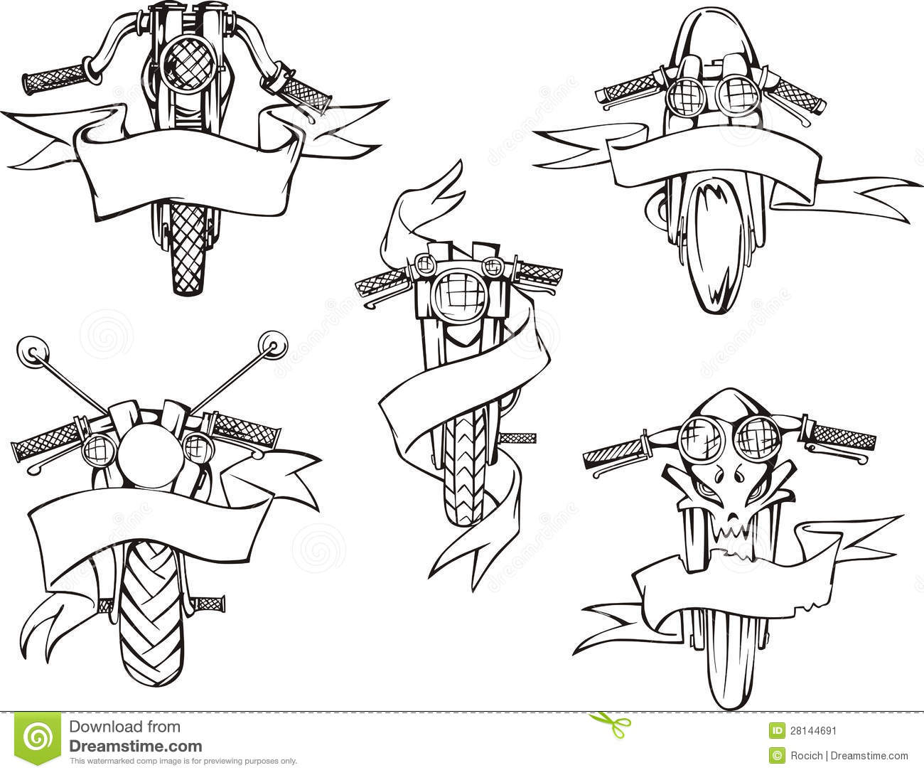 motorcycle templates with ribbons stock vector illustration of