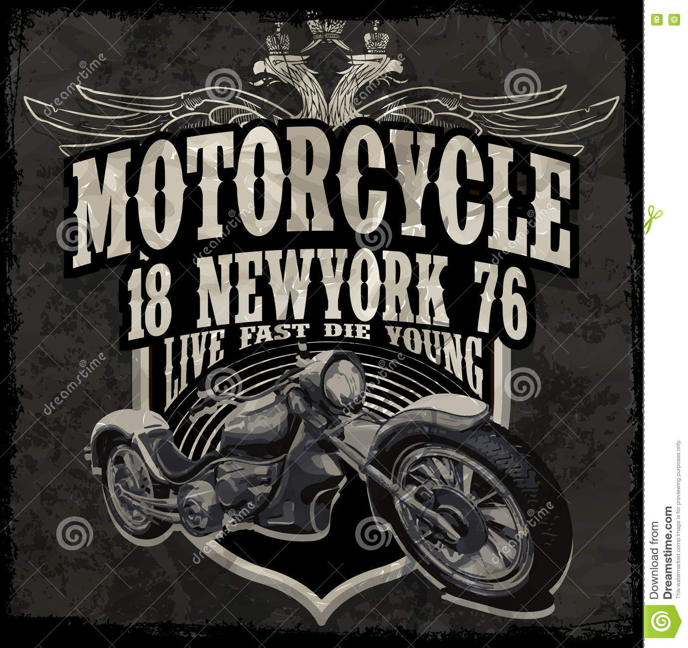 Motorcycle Typography Vintage Motor T-shirt Graphics ...