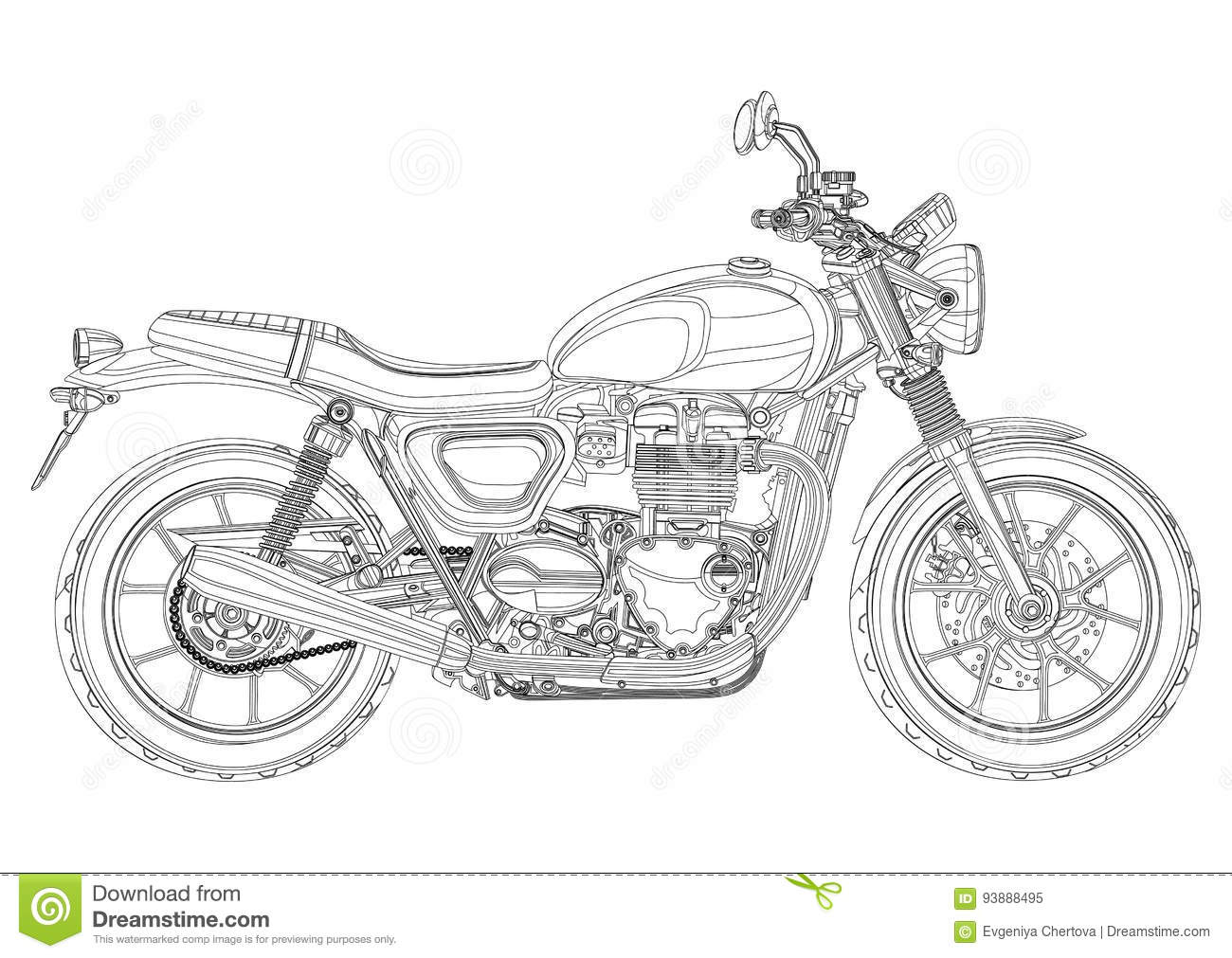 motorcycle vector  monochrome  black and white sketch