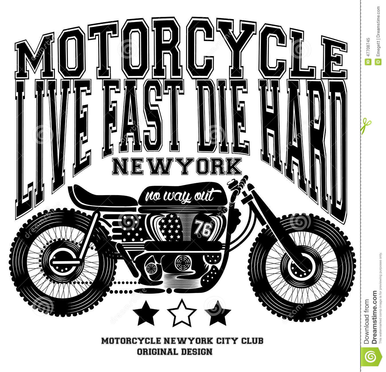 Motorcycle Vintage New York T Shirt Graphic Design Stock