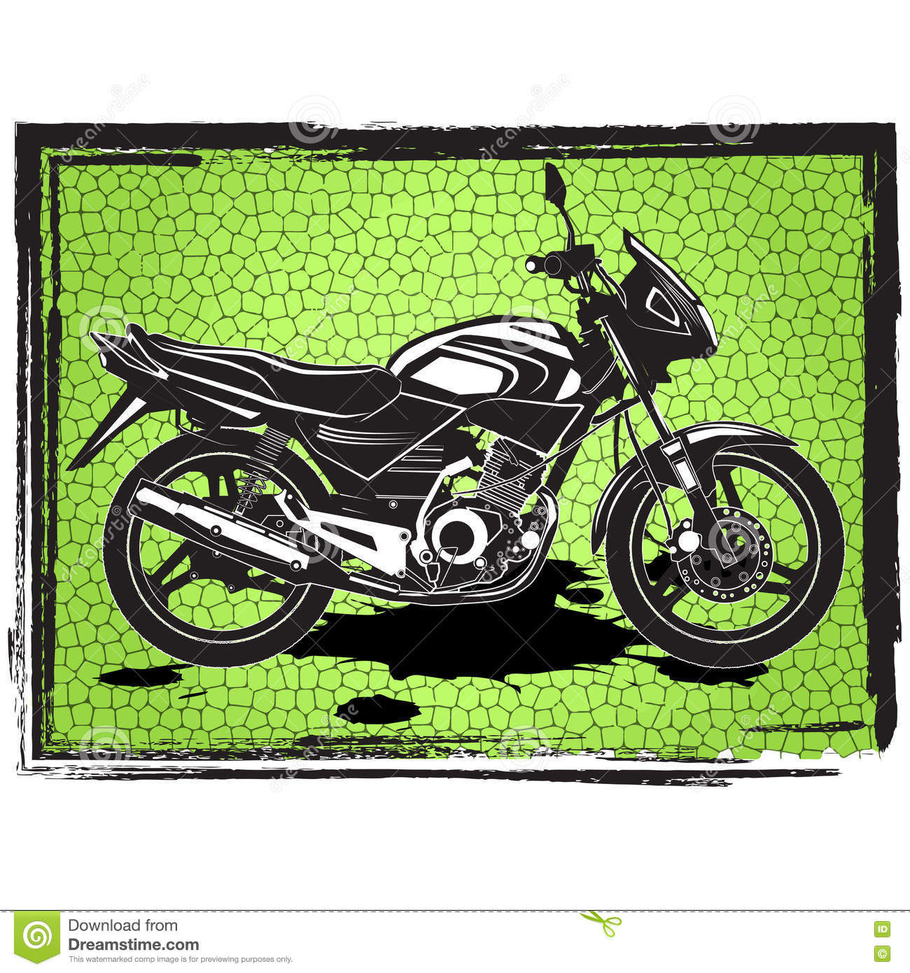 Motorcycles Label Design With Hand Drawn Motorcycle For Posters ...