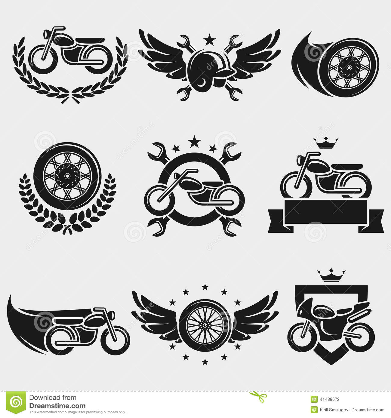 Motorcycles Labels And Icons Set Vector Stock Vector