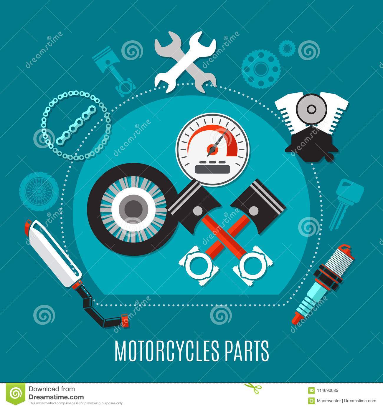 Motorcycles Parts Design Concept Stock Vector Illustration Of Flat Engine Diagram Pistons Schedule With Speedometer Tire Exhaust Muffler Spark Plug Decorative Icons