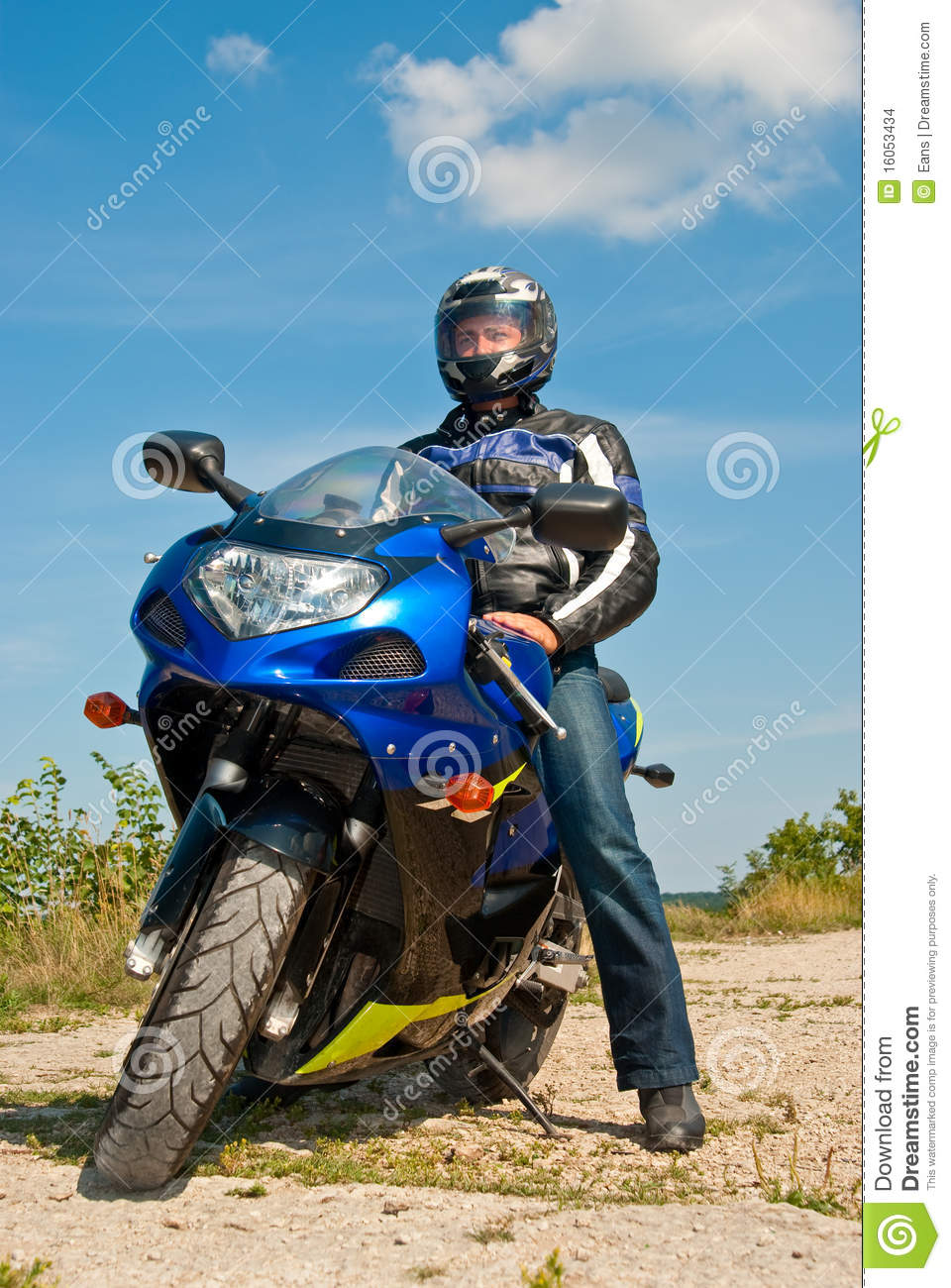 Motorcyclist Stock Photo Image Of Nature Male Black