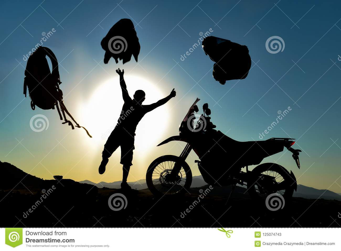 Motorcyclist In Silhoette Exhuberant Stock Image - Image of powerful