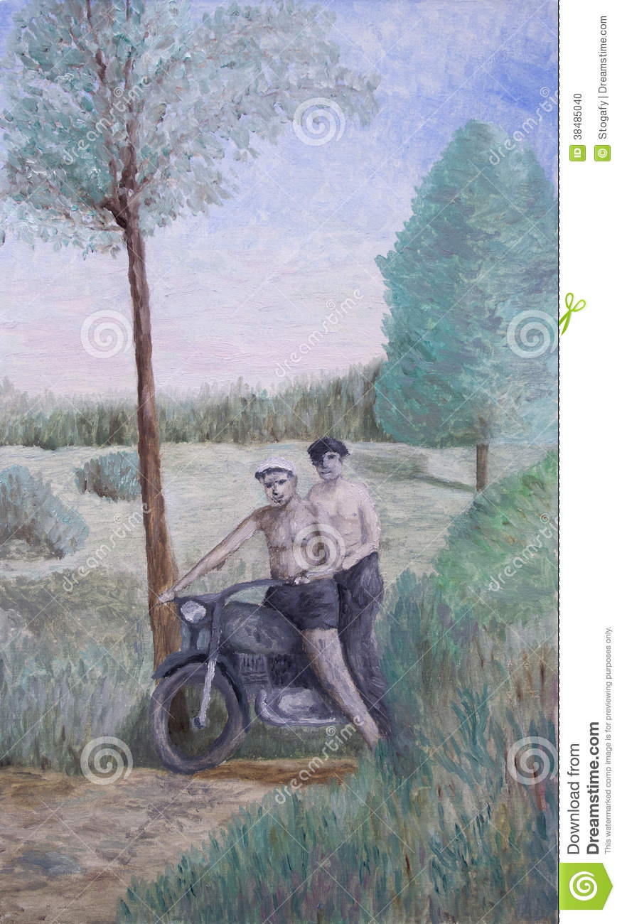 Motorcyclists in nature
