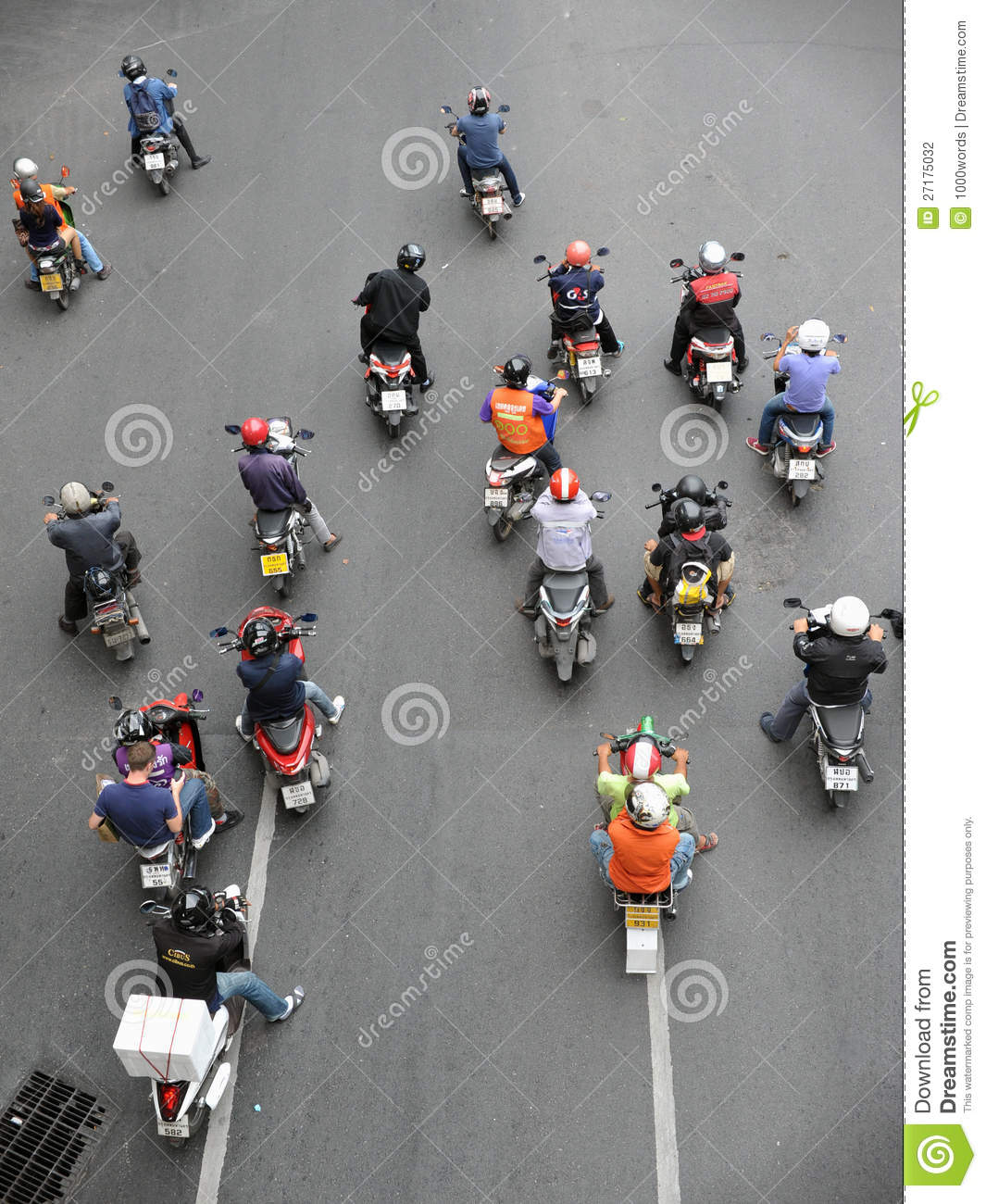 Motorcyclists Wait at a Junction