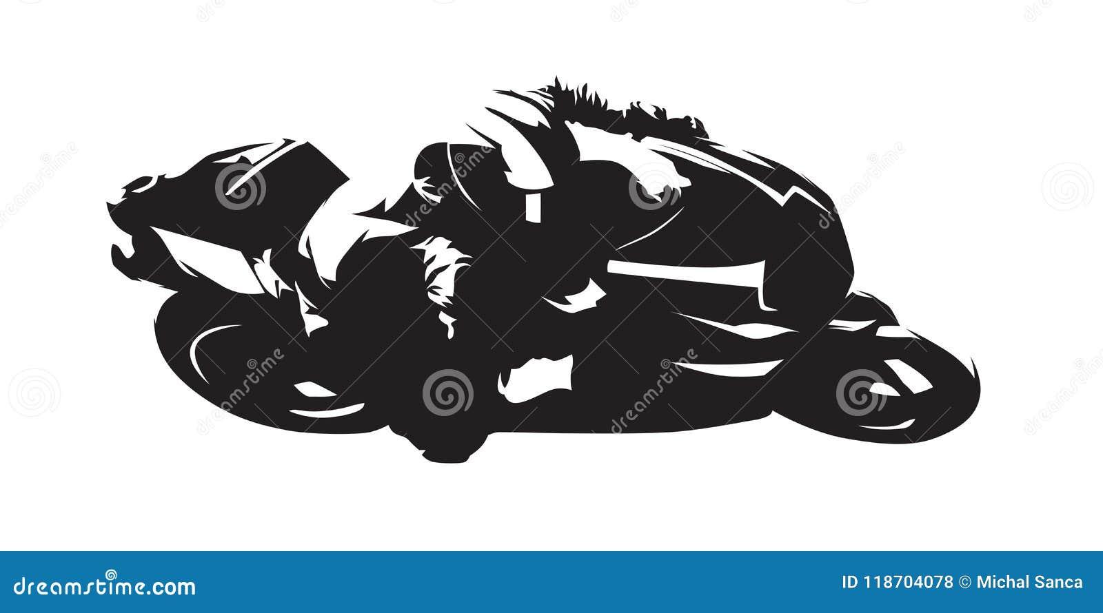 Motorcykel som springer, abstrakt vektorkontur Slapp fokus