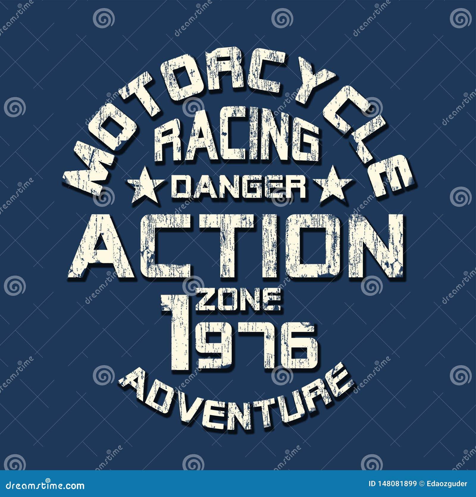 'motorcykel som springer 'typografi, sportsliga utslagsplatsskjortadiagram
