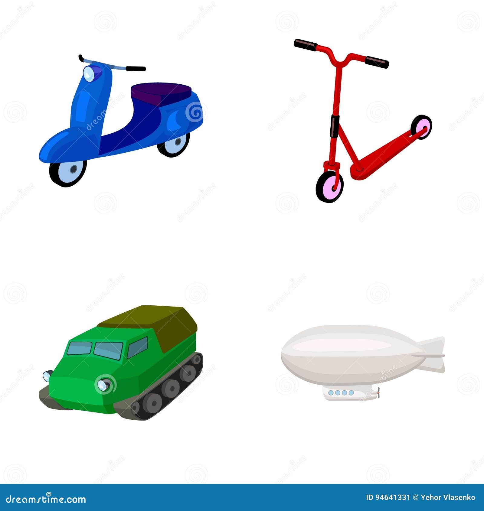 Motorcykel sparkcykel, bepansrad personalbärare, aerostattyper av transport Fastställda samlingssymboler för transport i tecknad