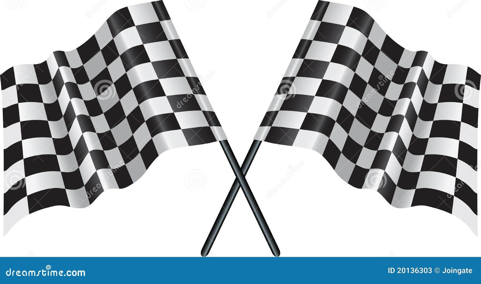 Motore che corre bandierina checkered e striata
