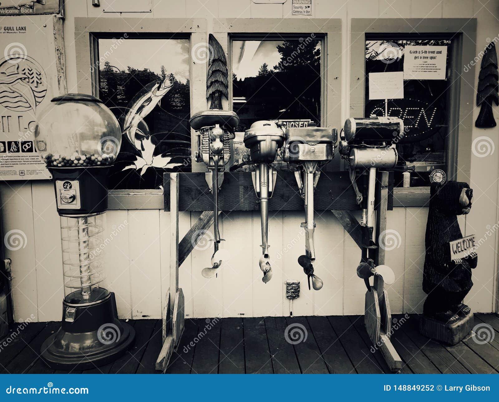 Motores do barco de pesca do passado