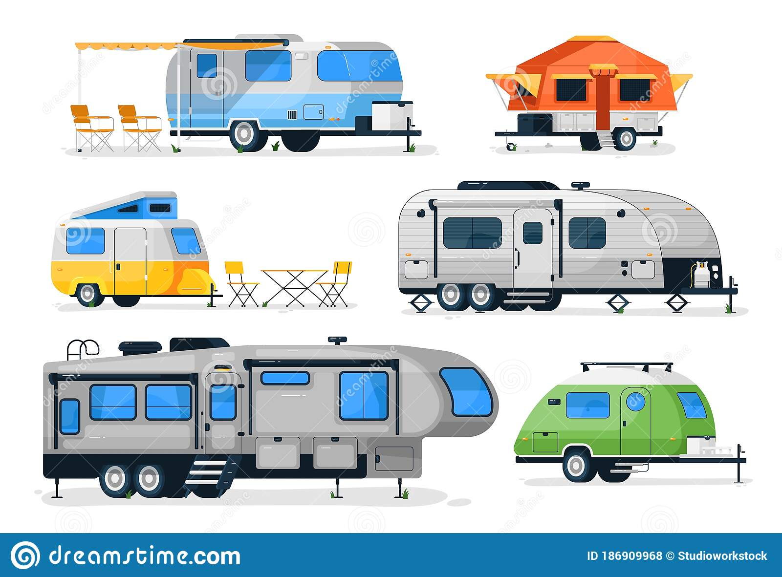 Motorhome Camper Caravan And House Truck Stock Vector Illustration Of Home Journey 186909968