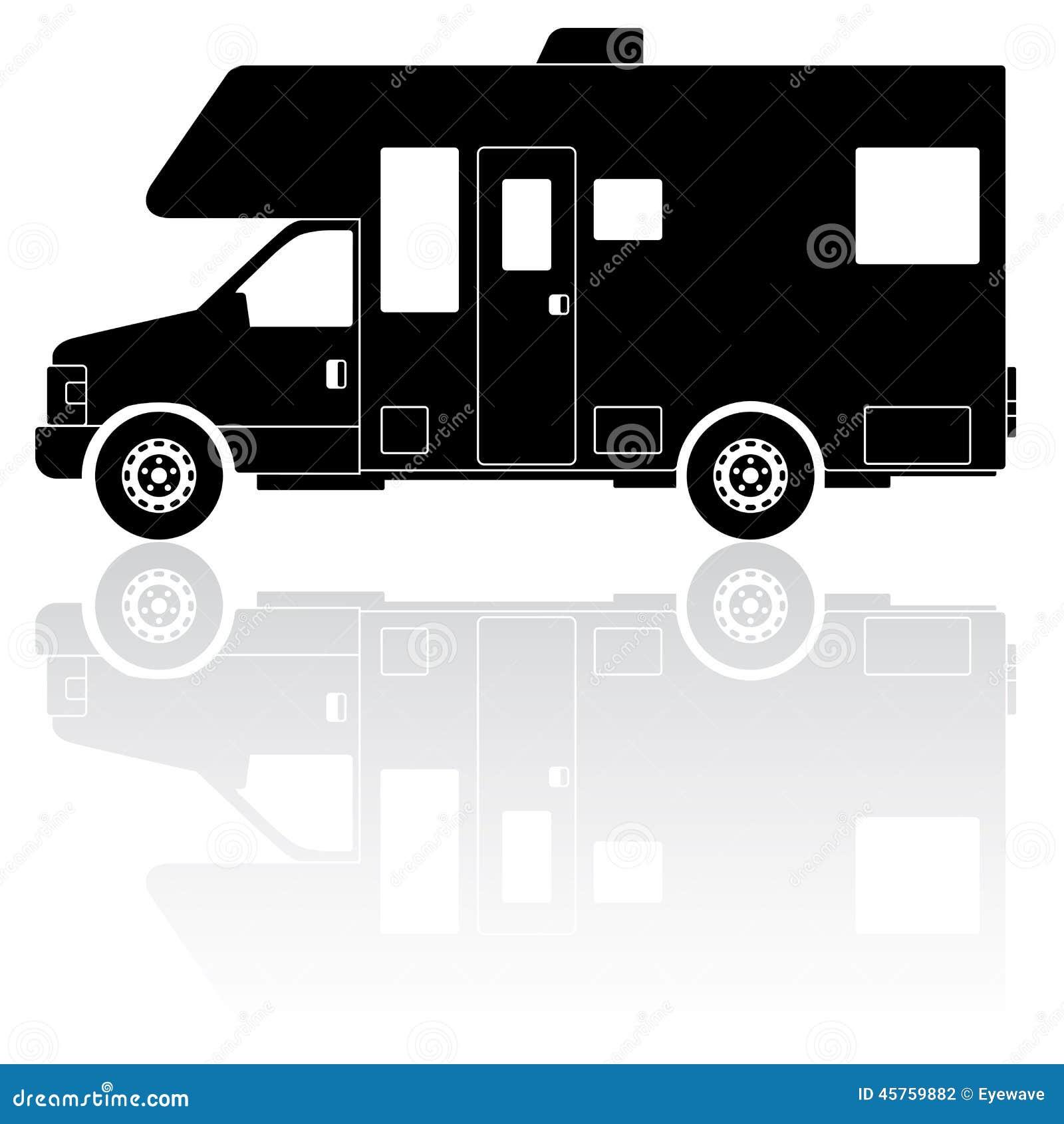 Motorhome Camper Silhouette Vector Icon