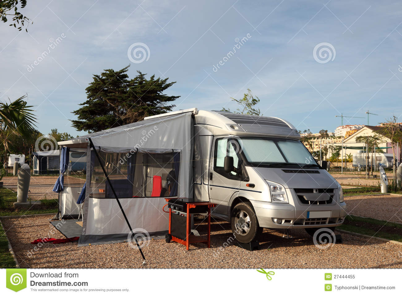 Motorhome on a camping site royalty free stock photo for Sell em all motors
