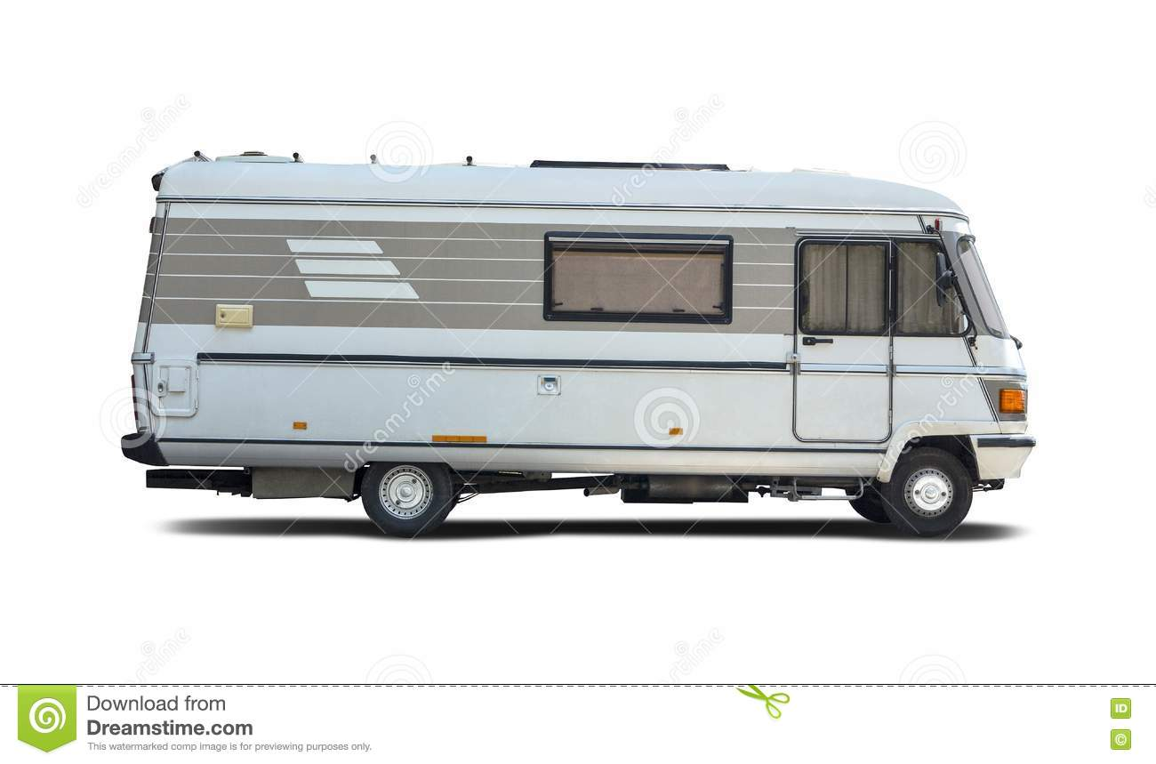 Motorhome Side View Isolated On White