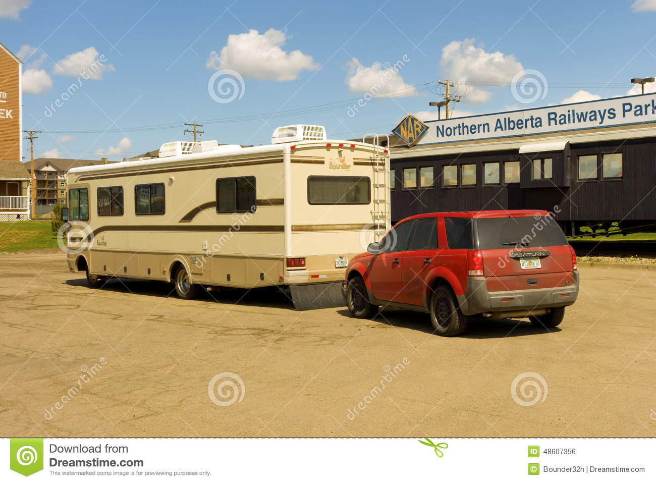 A motorhome at the start of the alaska highway