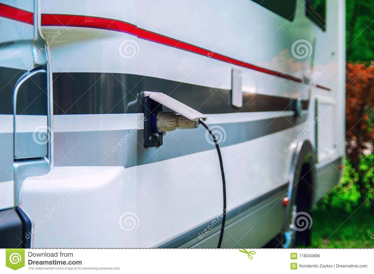 Motorhome Stillife Concept Of Power Supply The Camper Plug Wiring A For An Rv Electric Wire Is Inserted Into Socket Trailer