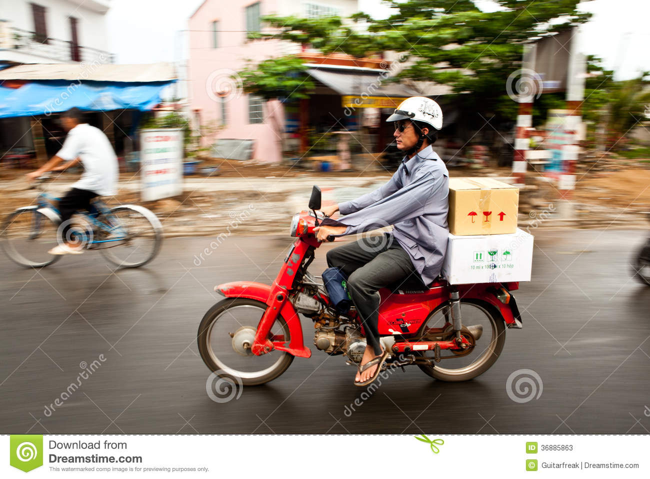 Download Motorino vietnamita fotografia stock editoriale. Immagine di cestini - 36885863