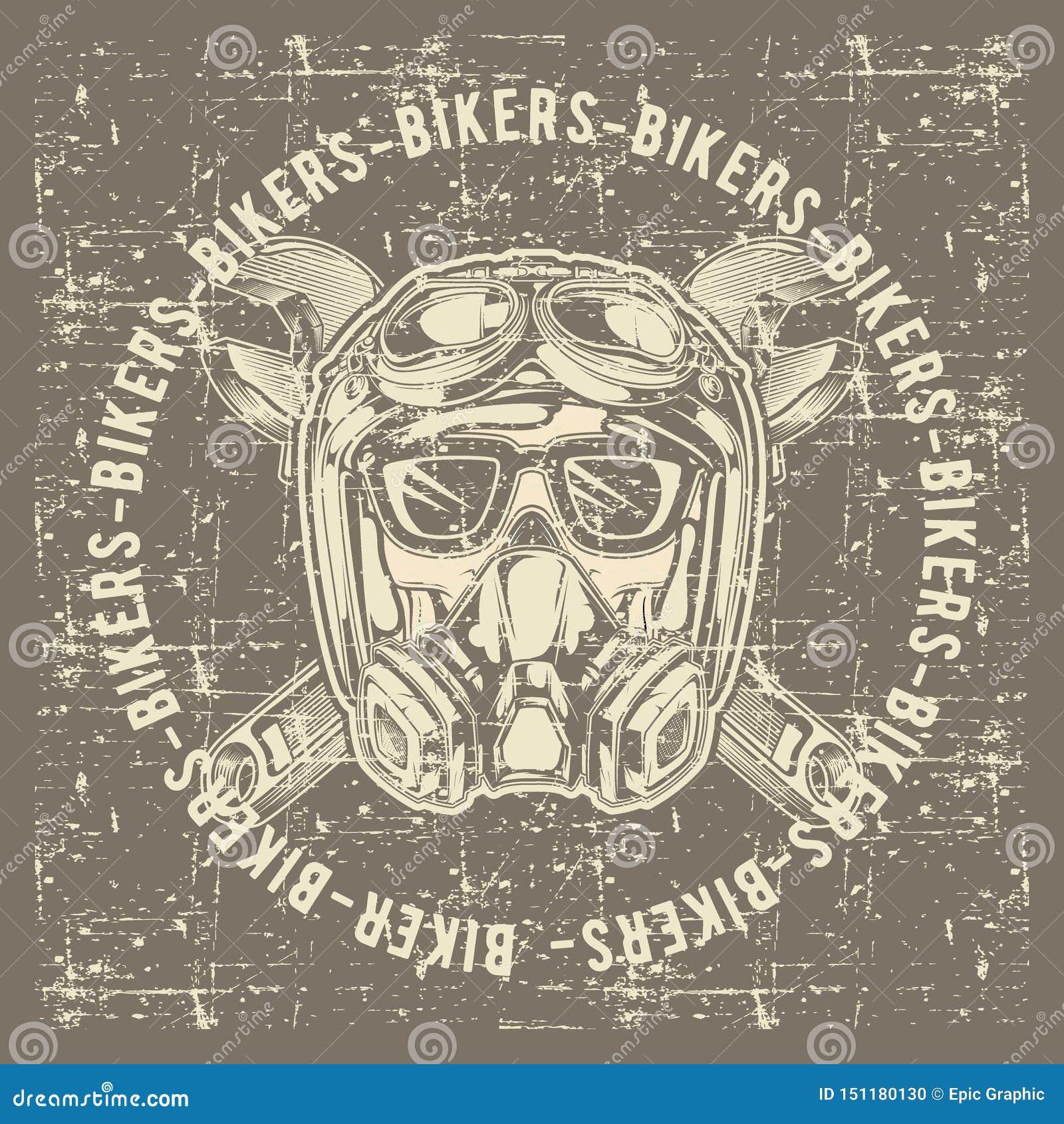 Motoristas del cráneo del cráneo del vintage del estilo del Grunge que llevan vector del dibujo de la mano del casco y de la llav