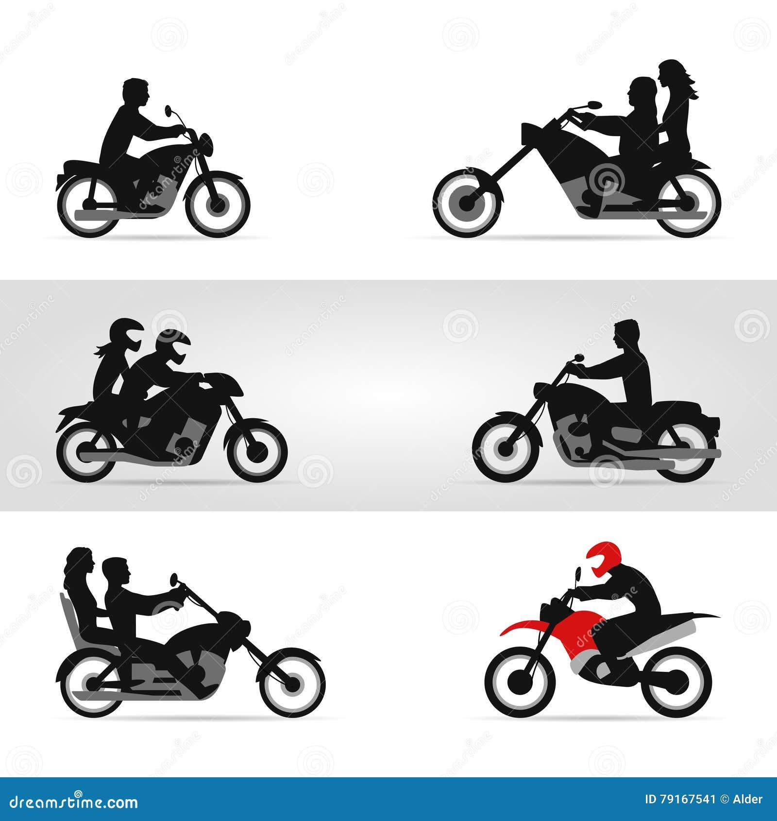 Motoristas en las motocicletas