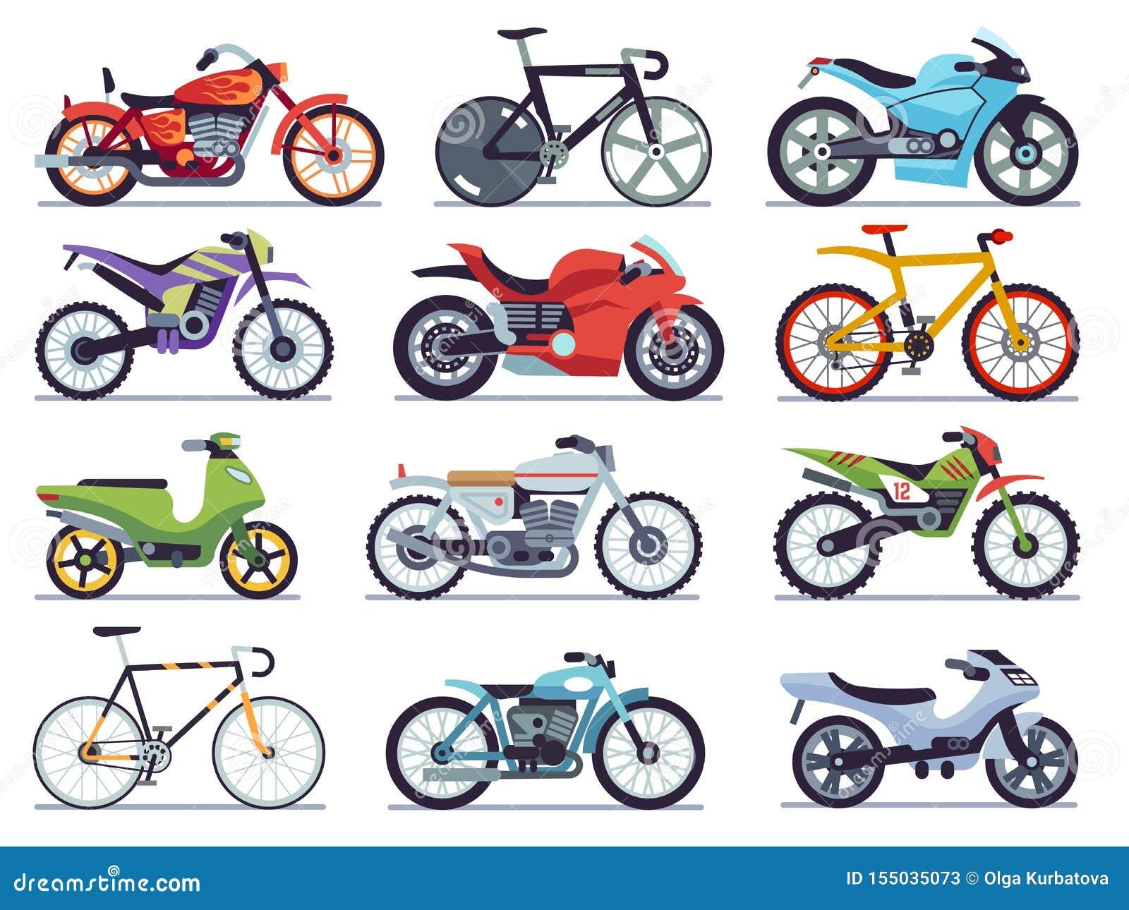 Motorreeks Motorfietsen en autopedden, fietsen en bijlen Van de snelheidsras en levering retro en moderne vlakke voertuigen