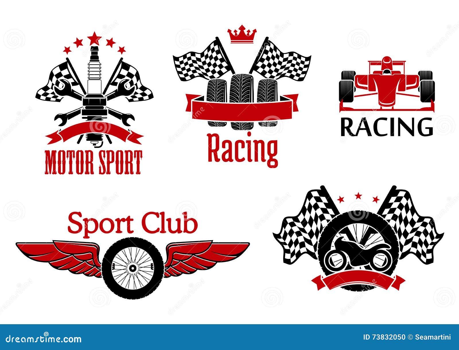 motorsport symbols for auto racing design stock vector