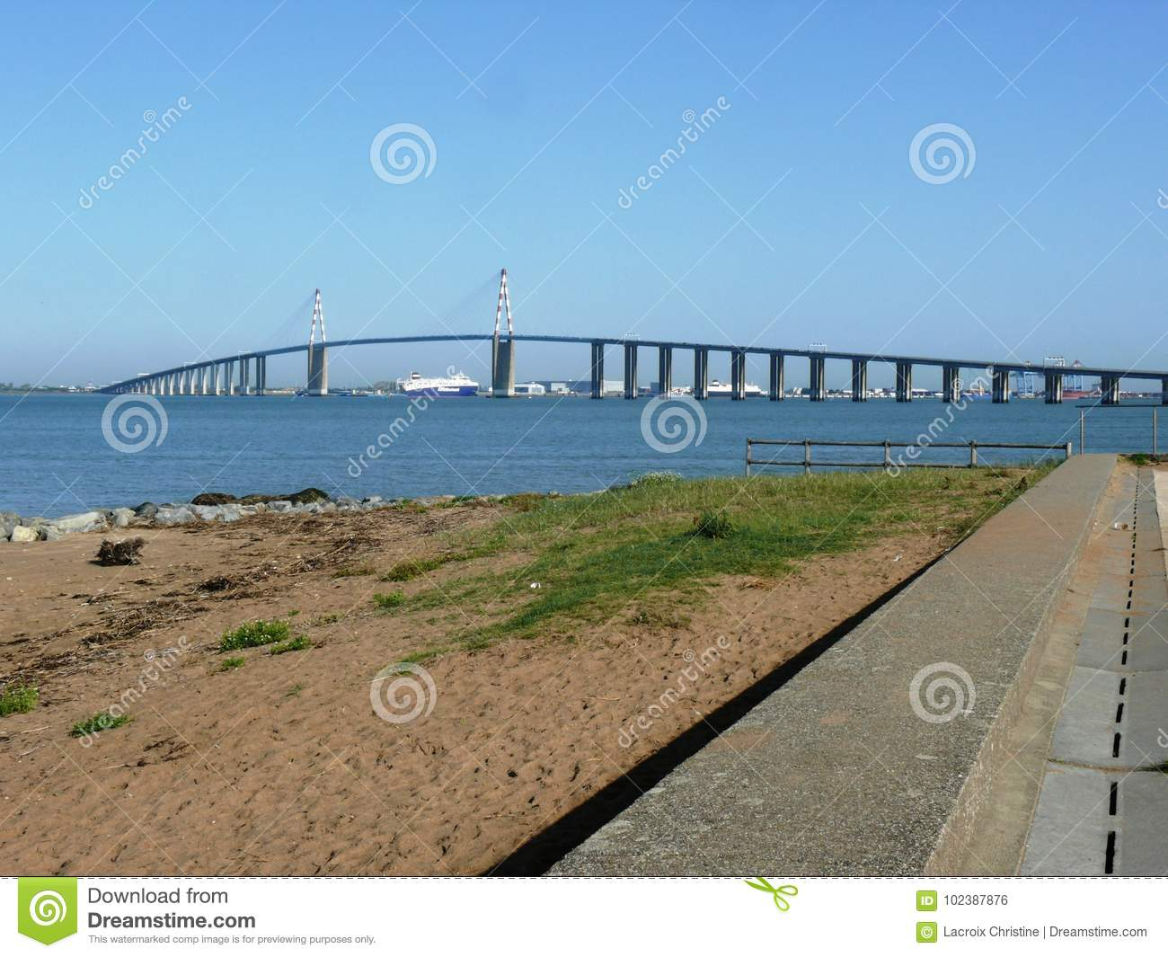 Bridge And Port Of Saint Nazaire In Brittany Editorial Photo