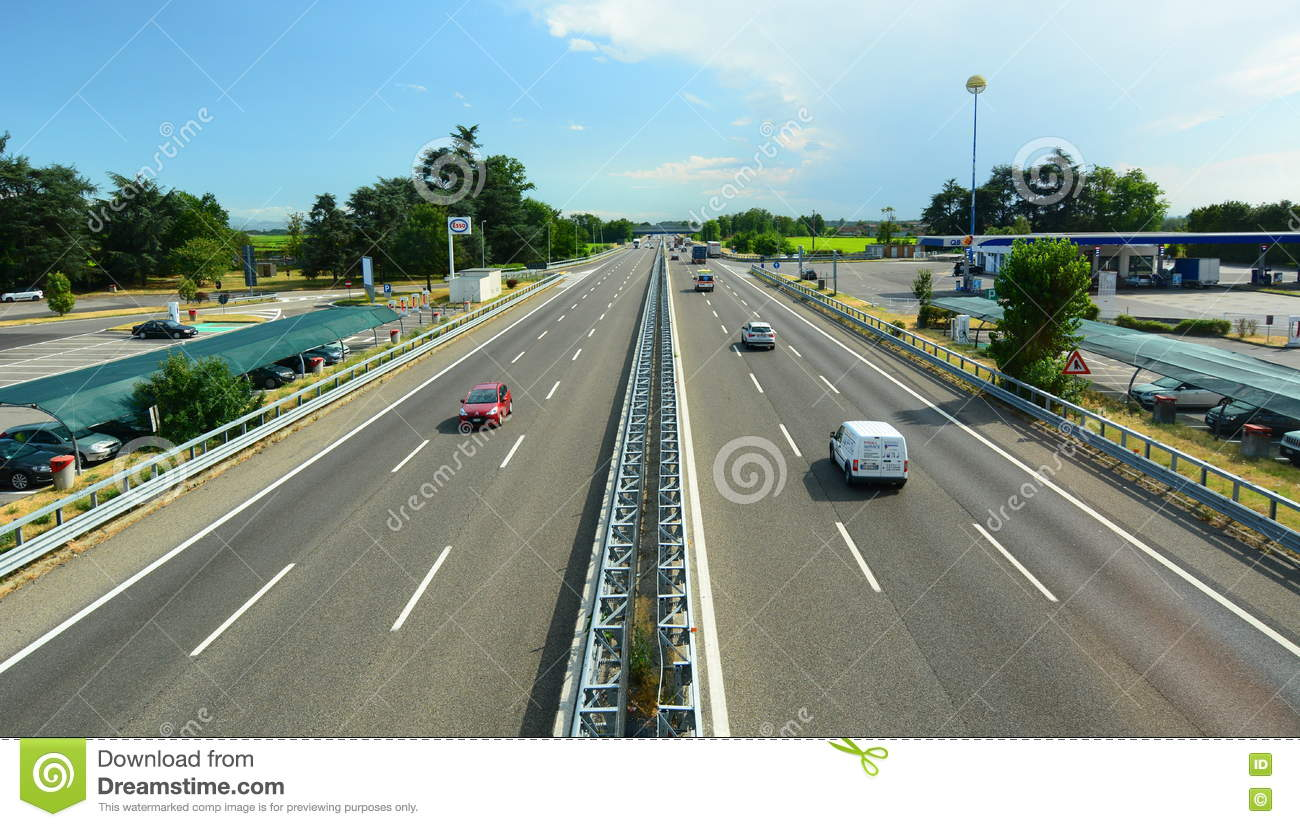 A7 motorway Milan Genoa. View from autogrill. Dorno. Italy