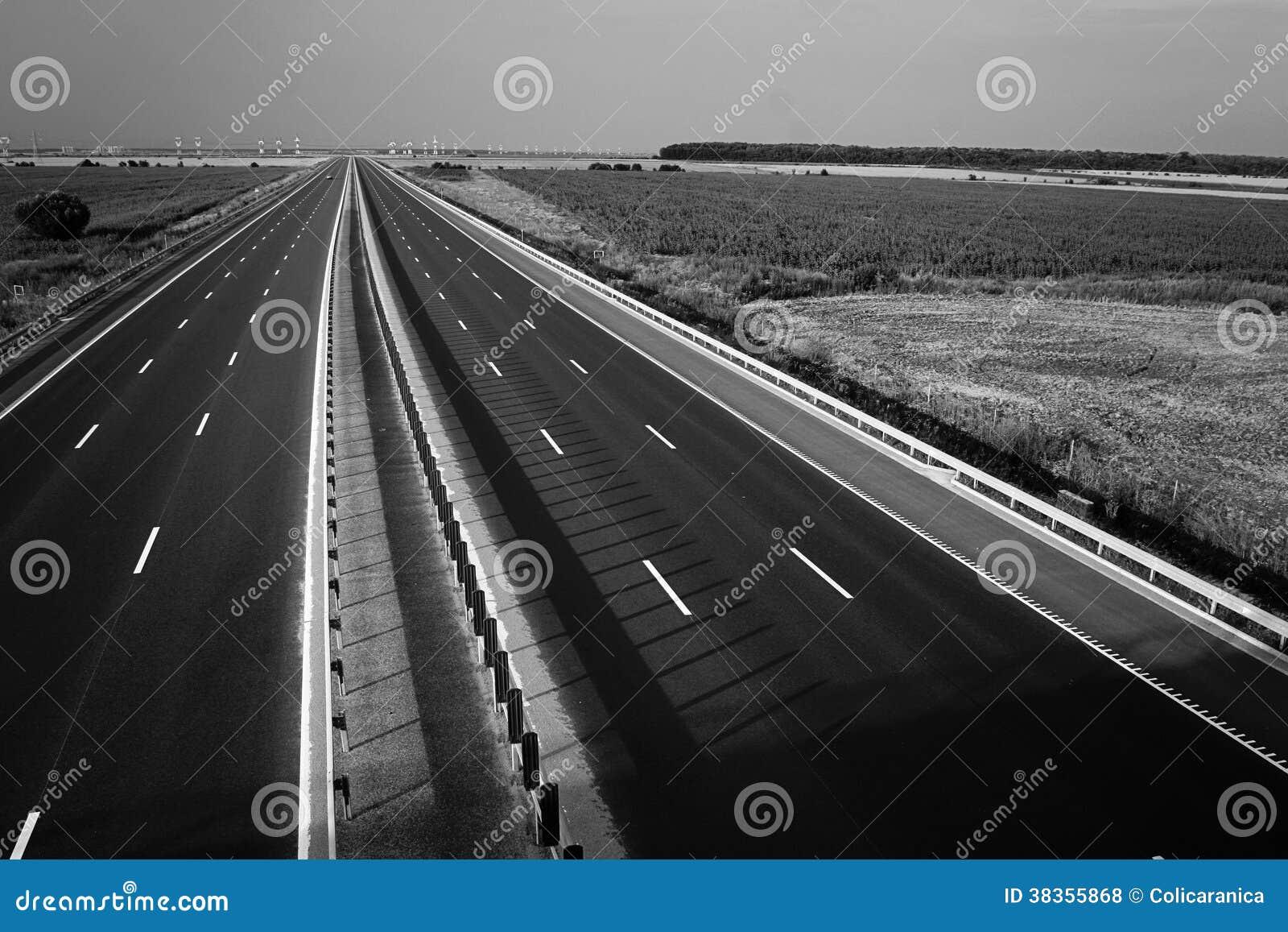 Motorway som ses från över