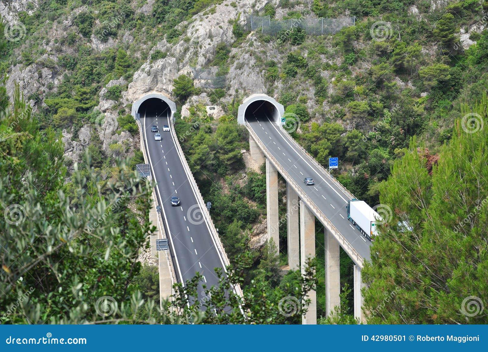 Motorway Tunnel On The Italian Mediterranean Coast Stock ...