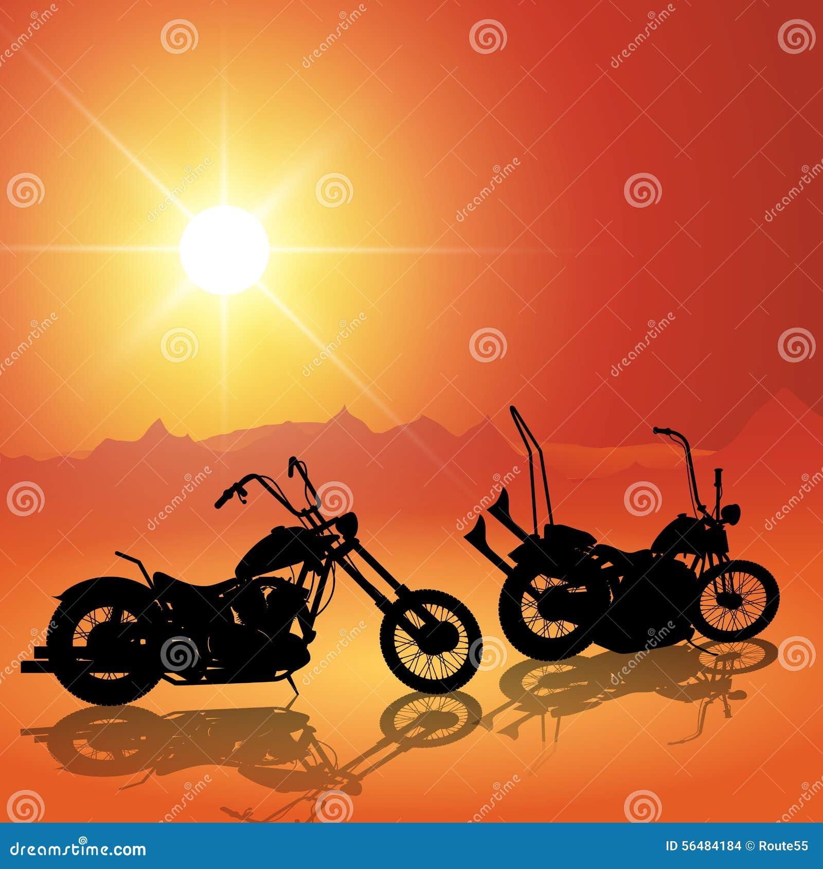 Motos au coucher du soleil