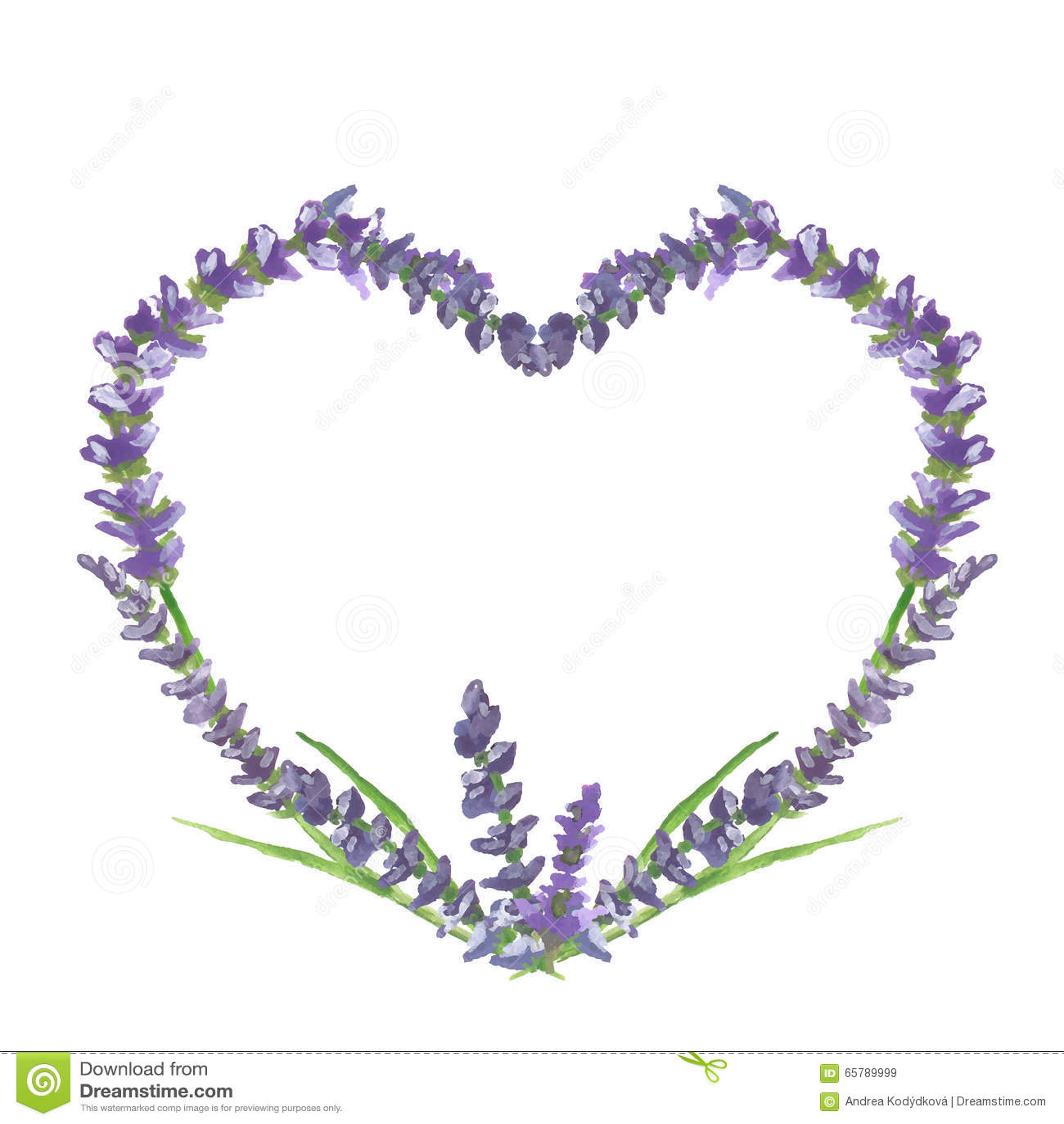 Motriz gráfico do coração, do casamento ou do Valentim da alfazema, pintura da aquarela, ilustração
