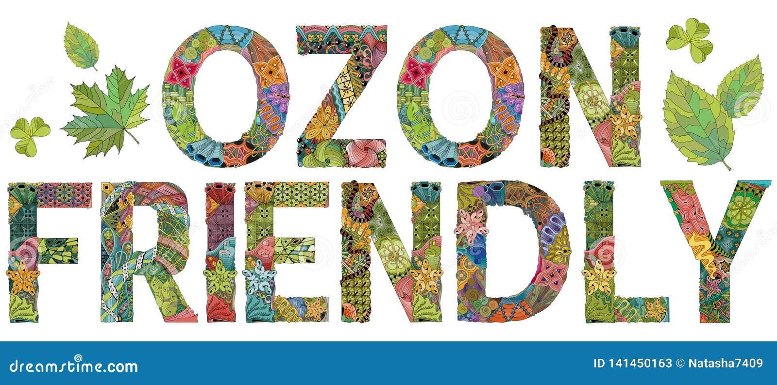 Mots OZON AMICAUX Objet de zentangle de vecteur pour la décoration