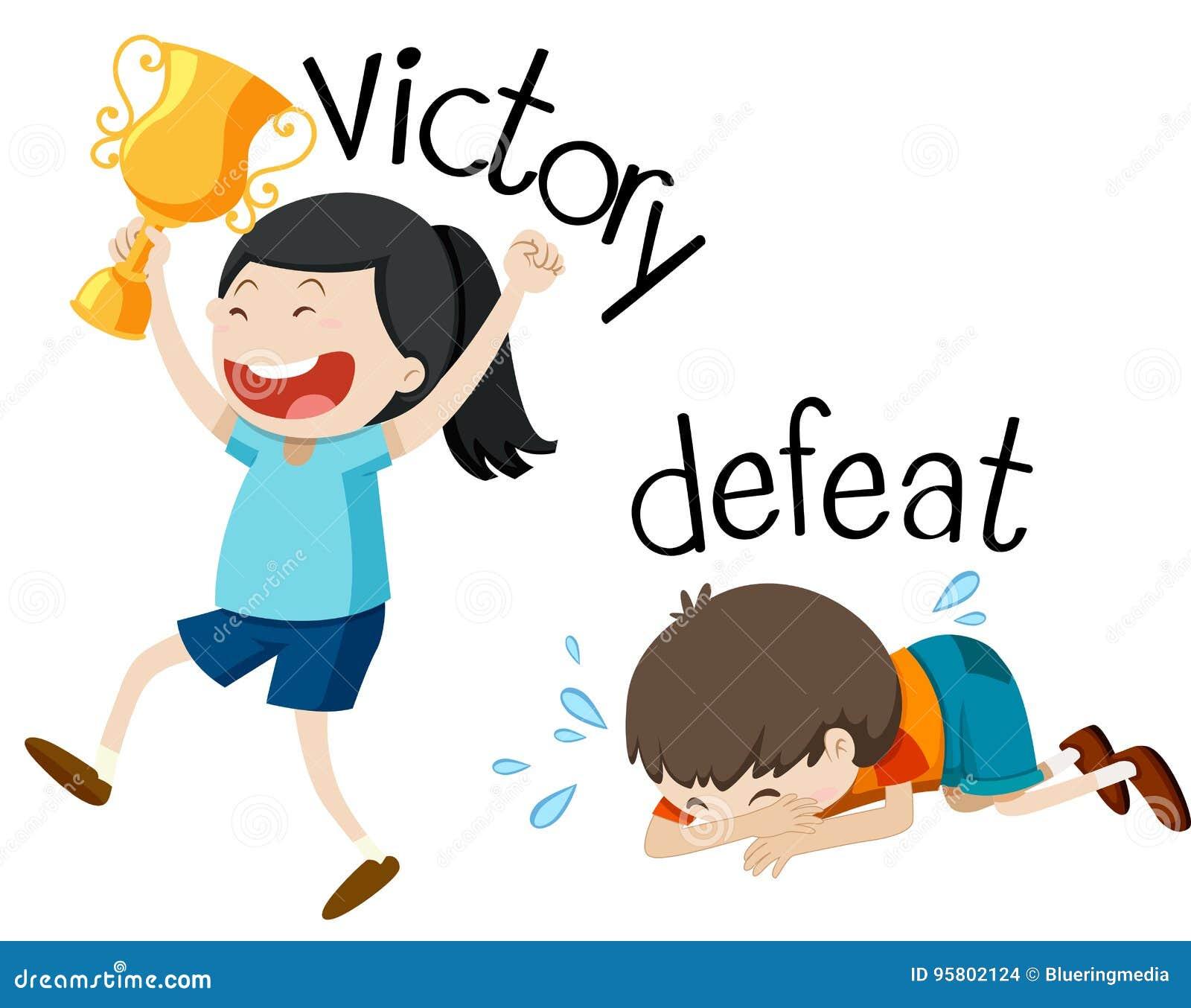 Motsatt wordcard för seger och nederlag