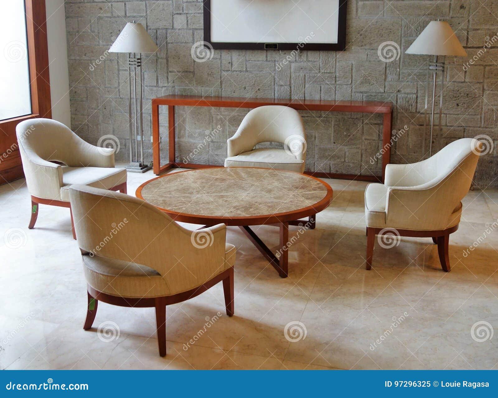 Mottagandeområde med furnitures