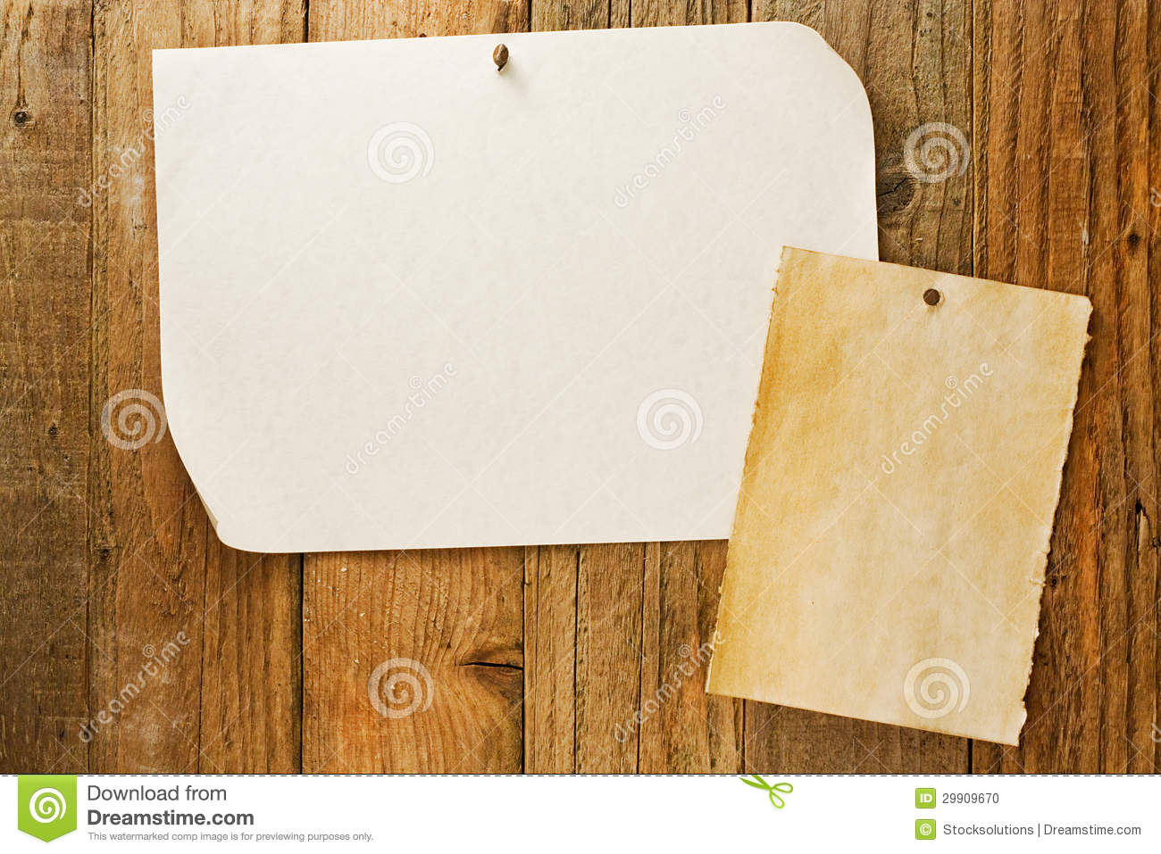 Mottled beige paper naled to distressed wooden wall stock for Wall to wall paper