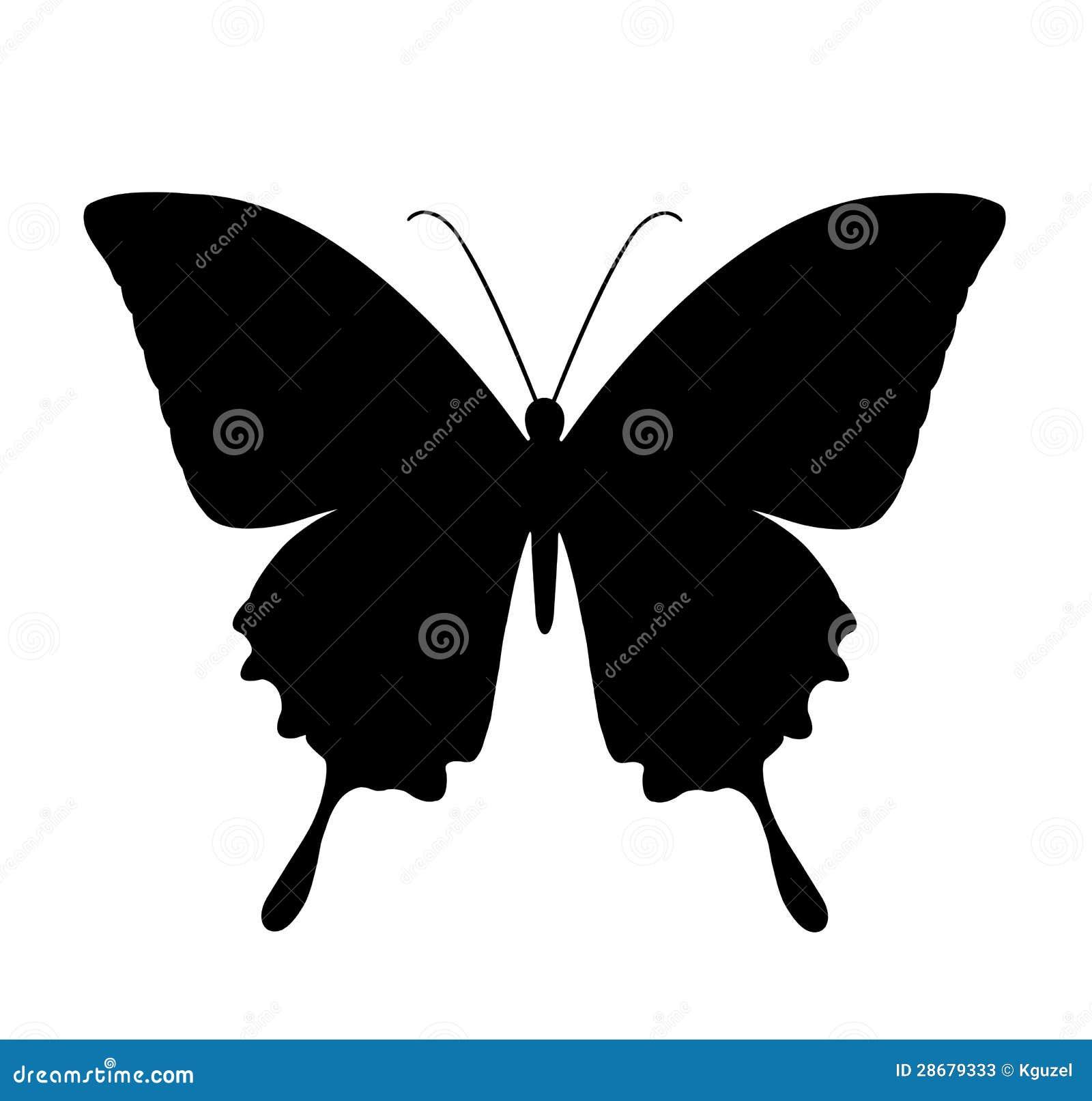 Motyl, czarne sylwetki na bielu