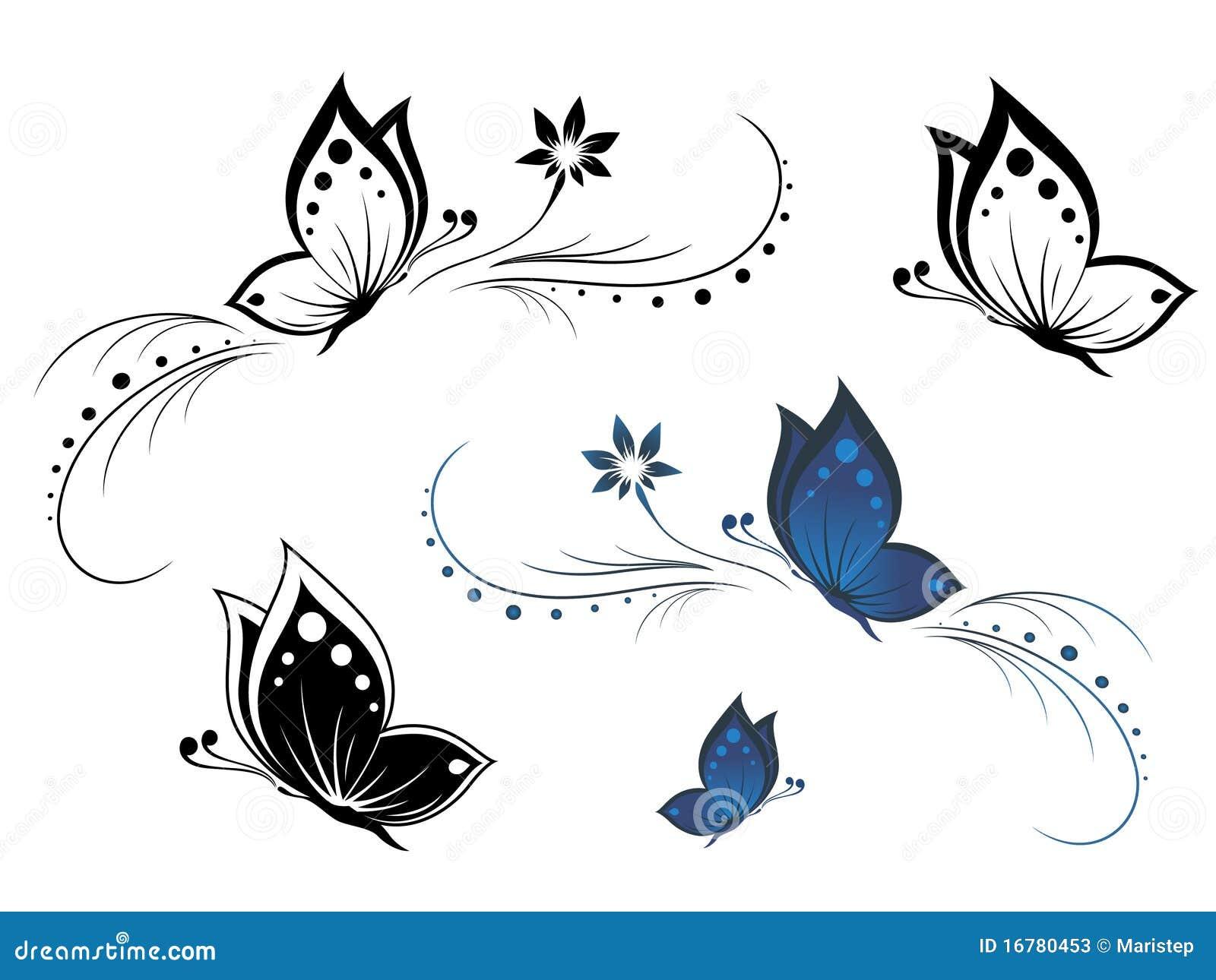 Motyli Kwiatu Wzór Ilustracja Wektor Ilustracja Złożonej Z