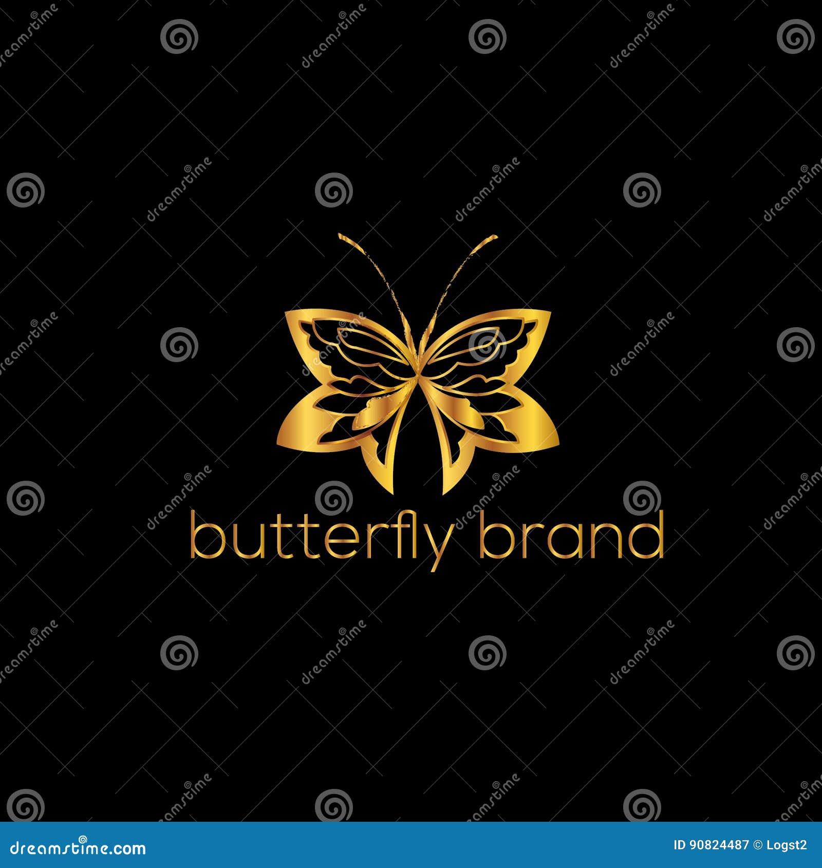 Motyli loga szablon również zwrócić corel ilustracji wektora