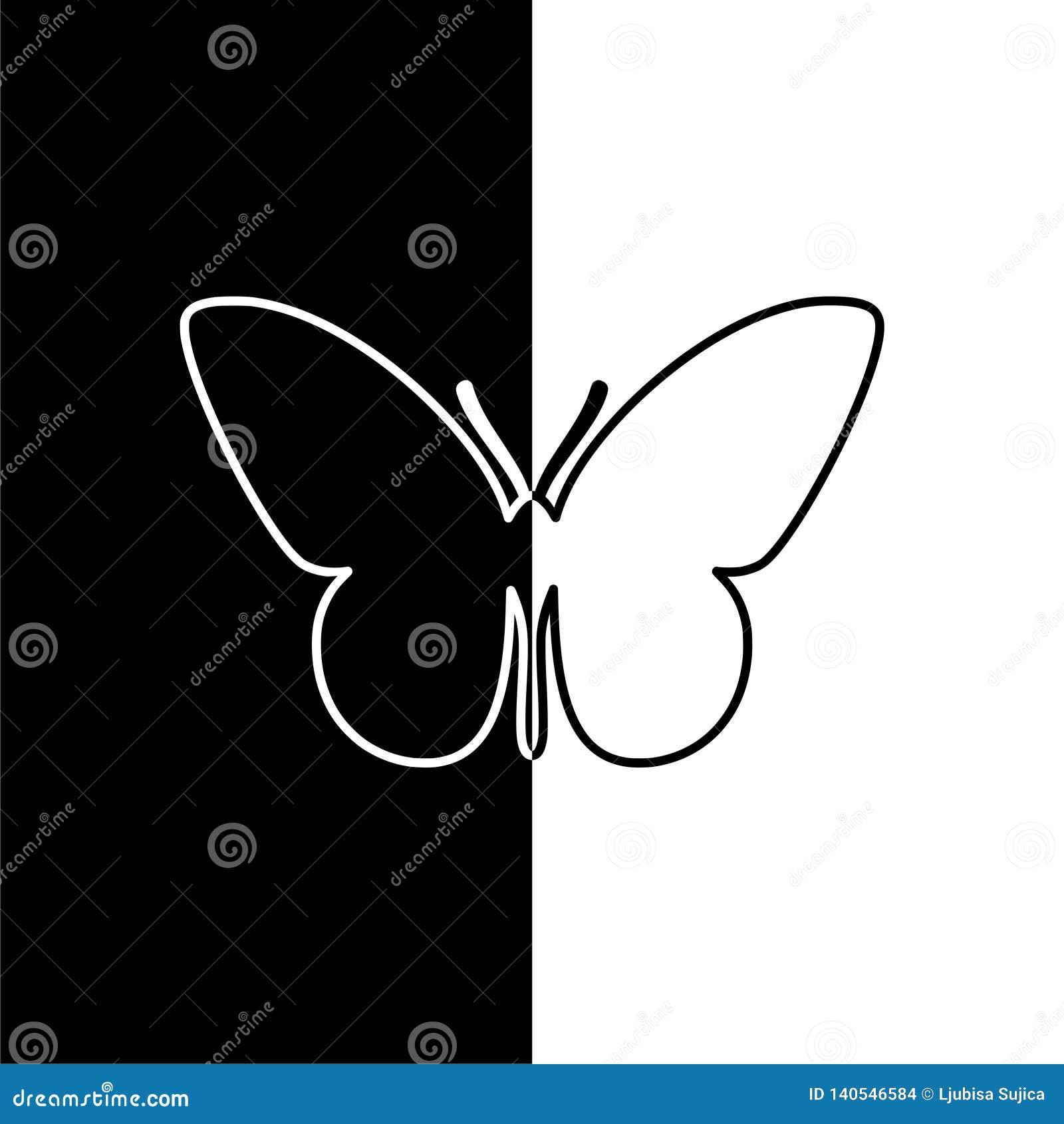 Motylia sylwetki ikona, czarny i biały
