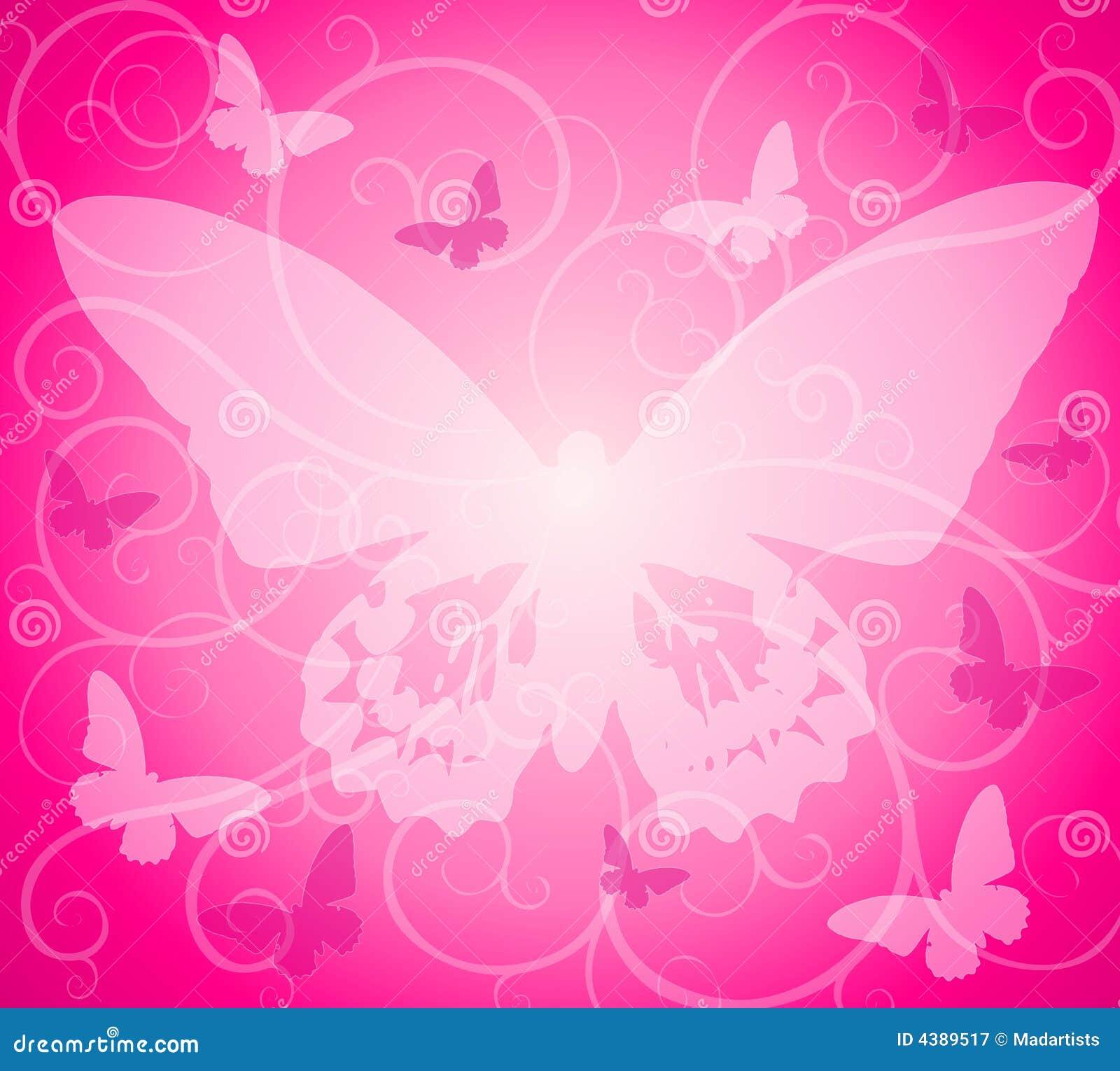 Motylie różowy nieprzezroczyste tło