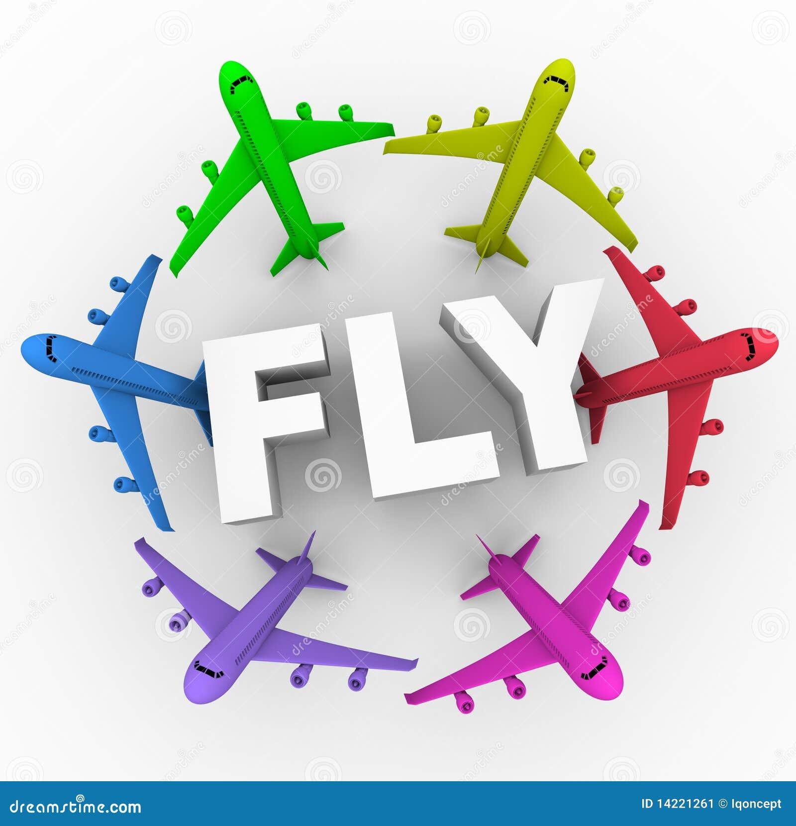 Mouche - avions colorés autour de mot